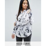 ASOS CURVE Tie Shoulder Blouse in Marble Print