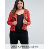 ASOS CURVE Premium Mixed Lace Panel Jacket In Red
