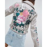 ASOS Premium Leather Jacket with Tattoo Rose Print and Studs