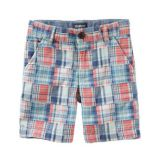 Madras Patchwork Flat-Front Shorts