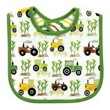 Stephan Baby Reversible Cotton Knit Down on the Farm Tractor Bib, Green/White/Yellow, 0-12 Months