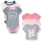 Tommy Hilfiger Baby Girls Print and Solid Bodysuits (Pack of 5)
