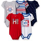 Tommy Hilfiger Baby Boys Short Sleeved Striped and Solid Bodysuits (Pack of 5)