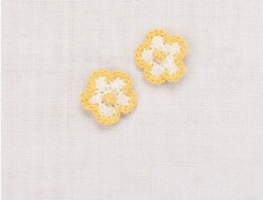 Medium Crochet Flower Clip Set - Vanilla/Sunflower