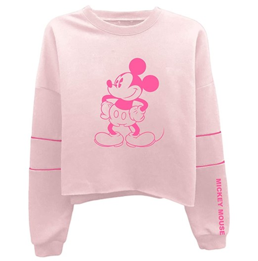Disney Ladies Mickey Mouse Fashion Shirt Mickey Mouse Oversized Raglan Sweatshirt
